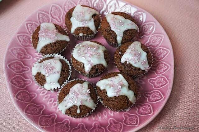 Mini-Schoko-Muffins mit Einhornstaub